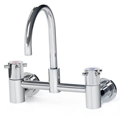 Gentec Cleanline Capstan Wall Mount Exposed Set 165mm Curved Spout 4 Star 7.5L/Min CAP0010
