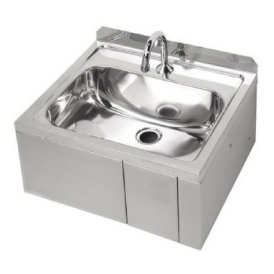 Hands Free Knee Operated Wall Hand Basin & Temp Valve Stainless Steel AB-KNEEHBT-1