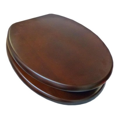 Haron TS-8800CP Mahogany Veneer Timber Toilet Seat Slow Close With Bottom Fix Hinges