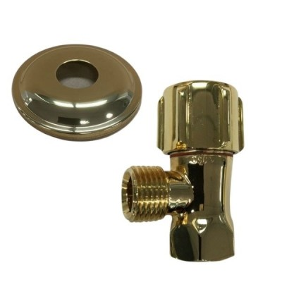 Mini Cistern Stop Gold & Cover Plate 15mm