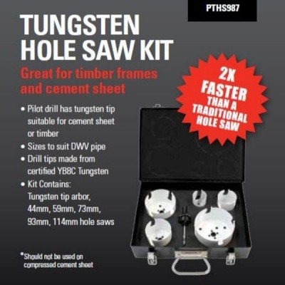 Plumtool Plumbers Hole Saw Kit Tungsten Tip 6 Piece With Carry Case PTHS987