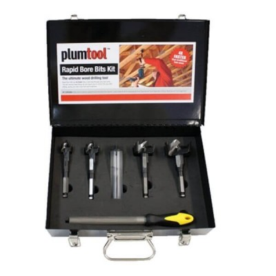 Plumtool Rapid Bore Wood Drill Bit Kit 6 Piece With Carry Case PTRB985