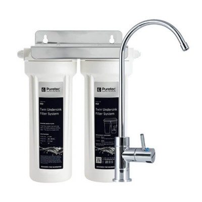 Puretec ES2 Ecotrol Twin Cartridge Rain Water Filter Undersink High Loop LED Faucet