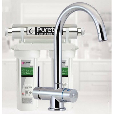 Puretec ESR2-T4 Undersink Ultraviolet Rain Water Filter Tripla 3 Way LED Mixer Tap
