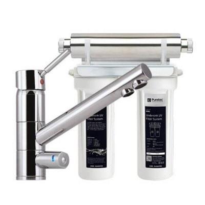 Puretec ESR2 T1 Tripla Twin Cartridge Ultraviolet Rain Water Filter Undersink 3 Way LED Mixer Tap