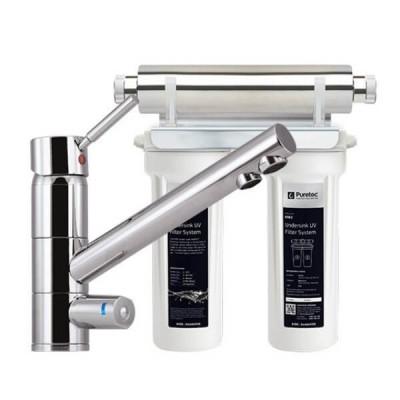 Puretec ESR2 T1 Tripla Twin Cartridge Ultraviolet Rain Water Filter Undersink 3 Way LED Mixer Tap