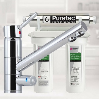 Puretec ESR2-T1 Undersink Ultraviolet Rain Water Filter Tripla 3 Way LED Mixer Tap