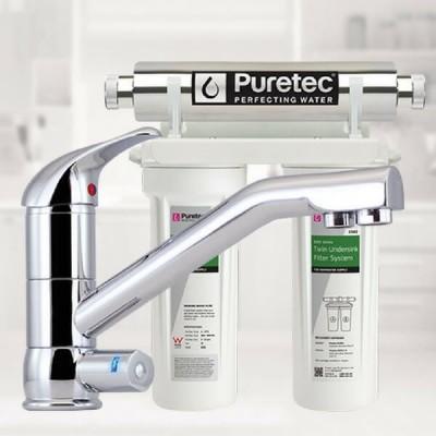 Puretec ESR2 T2 Tripla Twin Cartridge Ultraviolet Rain Water Filter Undersink 3 Way LED Mixer Tap