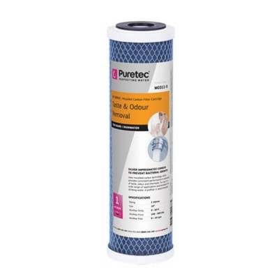 "Puretec MC011-S 1 Micron Moulded Carbon Water Filter Cartridge 2.5"" x 10"""