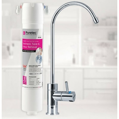 Puretec QT18 Water Filter Kit Undersink With High Loop LED Faucet