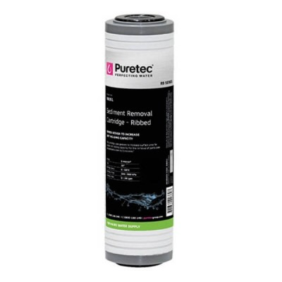 "Puretec RB051 Ribbed Sediment Water Filter Cartridge 2.5"" X 10"" 5 Micron"