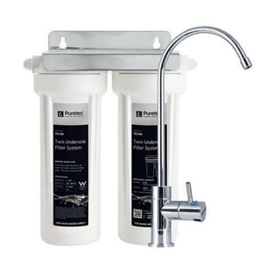 Puretec TS200 Twin Cartridge Water Filter Kit Undersink With High Loop LED Faucet