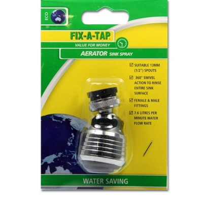 Tap Aerator Sink Spray Chrome & Black Fixatap 231123
