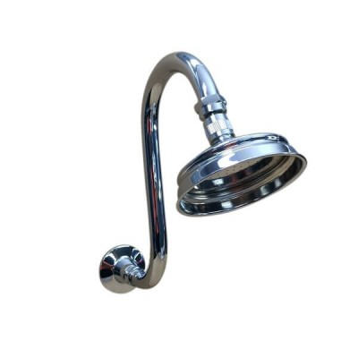 Traditional Curved Swan Neck Shower Arm and Rose Chrome TP5912