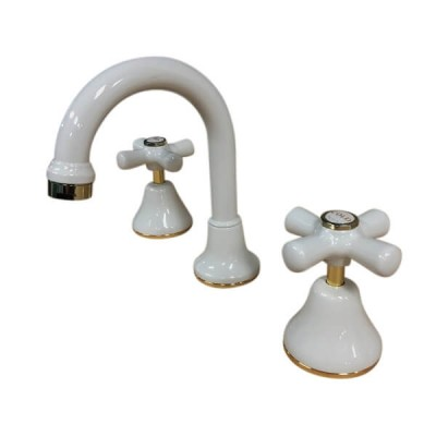 Traditions Basin Set Ivory Gold Ceramic Disc Swivel Outlet STC122