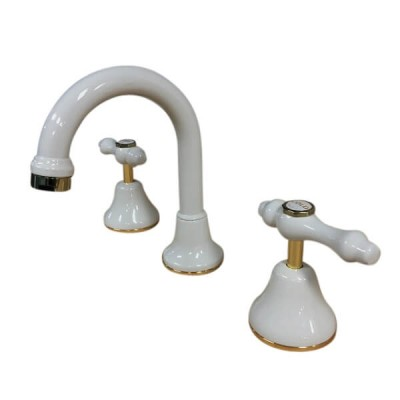 Traditions Lever Basin Set Ivory Gold Ceramic Disc Swivel Outlet TL1146