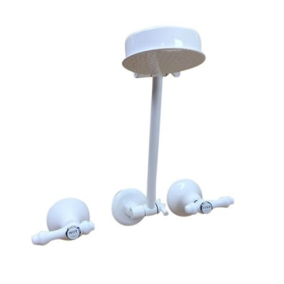 Traditions Lever Shower Set White Chrome Ceramic Disc All Directional Arm TL1248