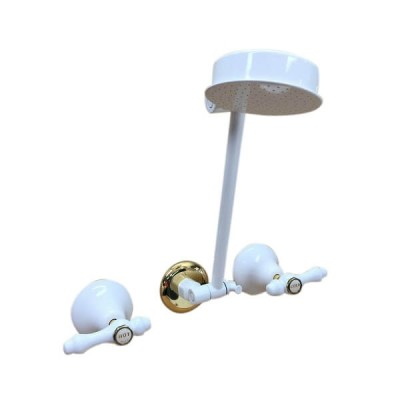 Traditions Lever Shower Set White Gold Ceramic Disc All Directional Arm TL1316