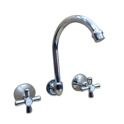 Traditions Wall Sink or Bath Set Chrome Ceramic Disc Swivel Outlet STC300