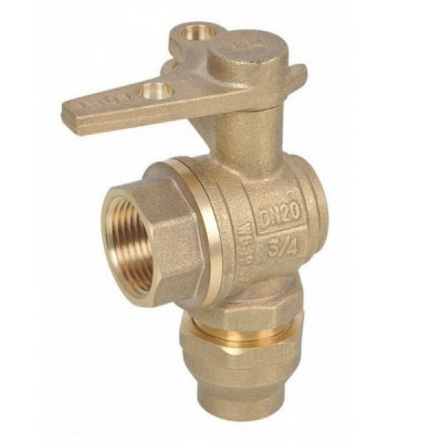 Water Meter Ball Valve Right Angle Lockable 25Fi X 25C Flared