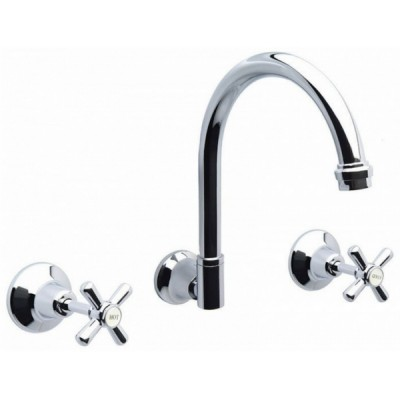 Whitehall Ezy Clean Wall Sink Set Goose Neck Outlet Ceramic Disc