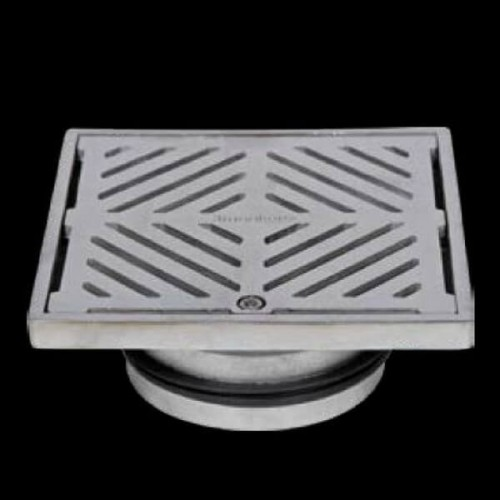 150mm Square Floor Waste Hinged Grate 316 Stainless Steel 100mm Outlet FW-150S-316
