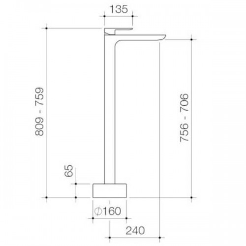 Caroma Contura Freestanding Bath Mixer Matte Black 99603B