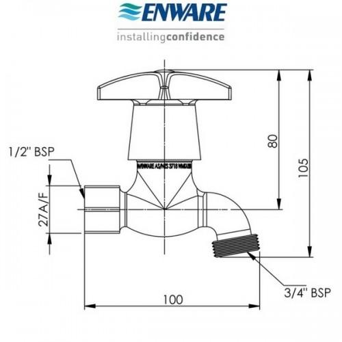 enware cs305f hose bib tap female 15mm