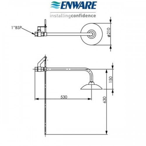 Enware EW1050 Wall Mounted Deluge Shower And Handle Unit