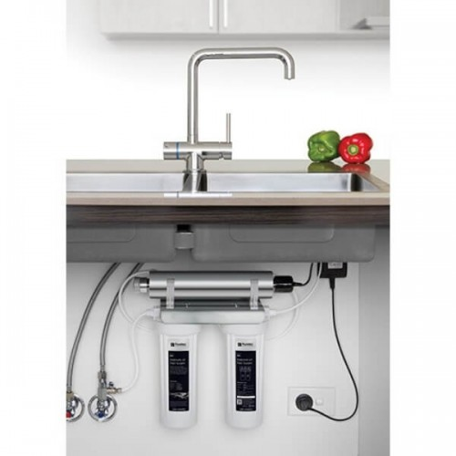 Puretec ESR2 T5 Tripla Twin Cartridge Ultraviolet Rain Water Filter Undersink 3 Way LED Mixer Tap