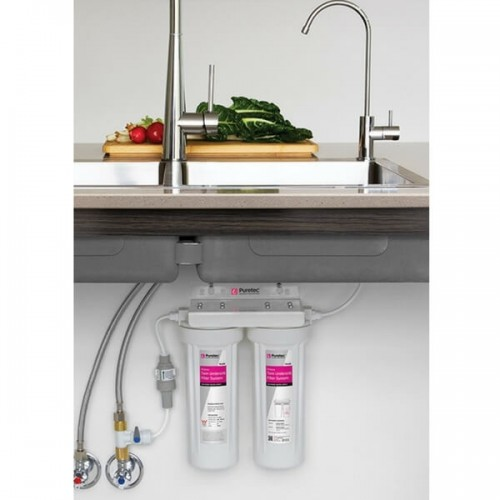 Puretec TS100 Twin Cartridge Water Filter Kit Undersink With High Loop LED Faucet