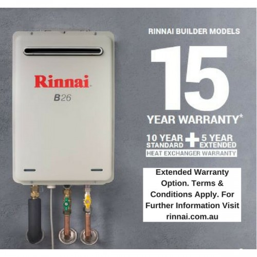 Rinnai B26 NATURAL GAS 50C B26N50A Builders Continuous Flow Hot Water Heater