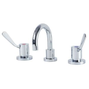 Gentec Cleanline 100mm Lever Basin Set Curved Swivel Spout 5 Star 6L/Min CL10002