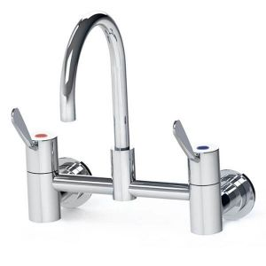 Gentec Cleanline 100mm Lever Wall Mount Exposed Set 165mm Curved Spout 4 Star 7.5L/Min CL10010